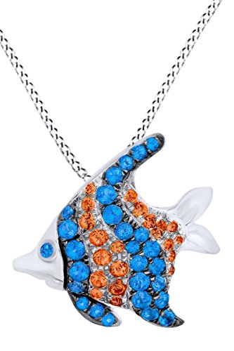 AFFY Simulated Blue Topaz & Citrine Fish Fashion Pendant Necklace in 14k White Gold Over Sterling Silver (0.93 Cttw) ()
