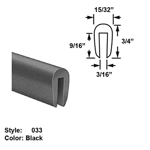 Neoprene Rubber U-Channel Push-On Trim, Style 033 - Ht. 3/4'' x Wd. 15/32'' - Black - 25 ft long by Gordon Glass Co.