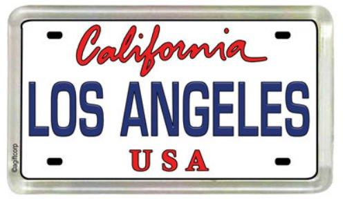 (Los Angeles California License Plate Acrylic Small Fridge Collector's Souvenir Magnet 2