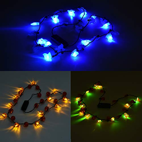 Halloween Party Favors, 3 Pack Light Up LED Necklaces for Party Accessories, Halloween Necklace, Glow In The Dark Necklaces