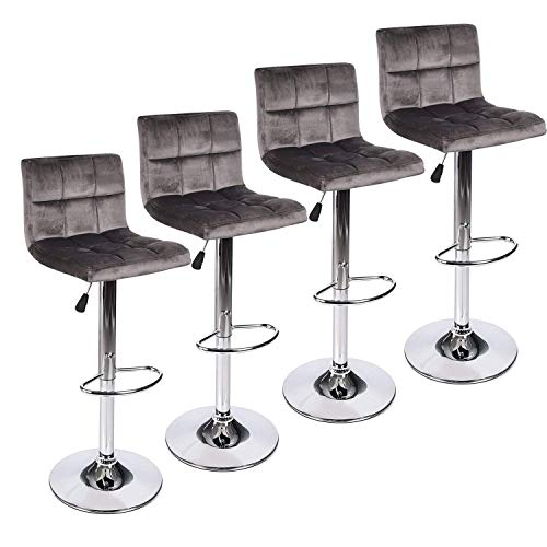 Elecwish Barstool Velvet Fabric Tufted Cushion Foam Coffee Home Silver Chrome Foot Rest Counter Bar Height Adjustable Outdoor Indoor Gas Lift SGS Wine Drink Dining (Dark Gery 4) ()
