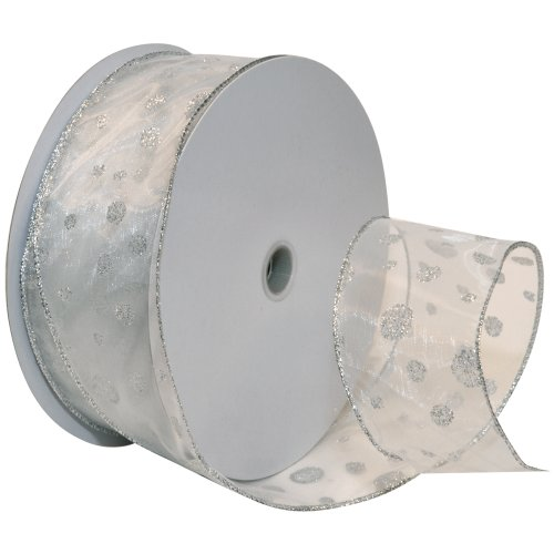 Morex Ribbon Glitter Dots Wired Sheer Glitter Ribbon, 2-1/2-Inch by 50-Yard Spool, Silver