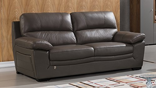 American Eagle Furniture Madison Collection Contemporary Italian Leather Living Room Sofa With Pillow Top Armrests, Tan