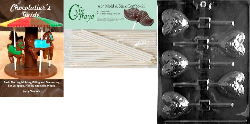 Cybrtrayd 'Heart Pop with Cherub' Valentine Chocolate Candy Mold with 25 4.5-Inch Lollipop Sticks and Chocolatier's Guide