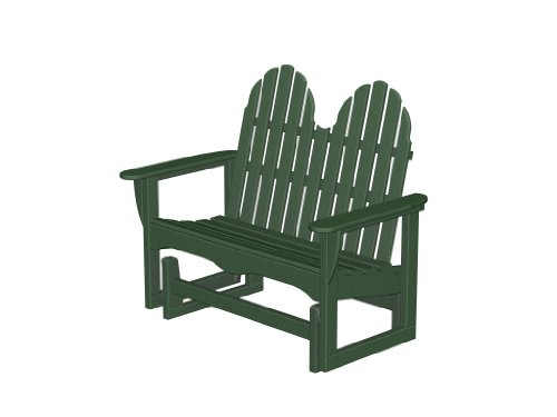 Recycled Plastic Adirondack Glider 48 inch Bench by PolyWood Frame Color: Hunter Green (Adirondack 48 Inch Bench)