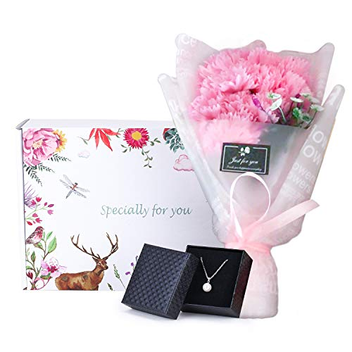 Single Pearl Necklace and Carnation Flower Bouquet Gift for Her, Flower and Jewelry Gift Box, Best, Birthday Gifts for Mom Woman Women [Light Pink]