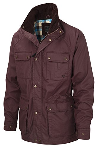 Vedoneire Mens Wax Jacket (3050 Burgundy) Maroon red Motorbike Coat S (Chest 35-37 inch)