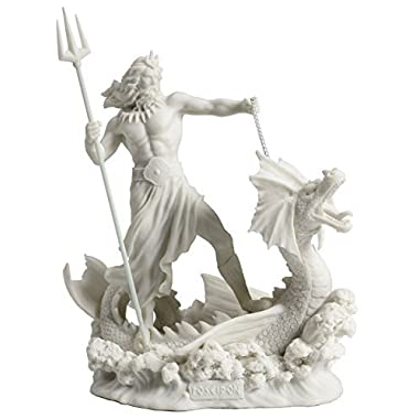 Poseidon Standing On Hippocampus with Trident Statue