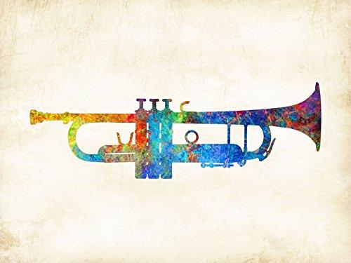 Watercolor Trumpet Art Print Signed Dan Morris
