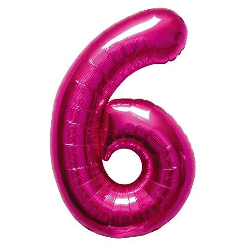 NorthStar Foil Balloon 000140 Number 6  Magenta 34quot Pink