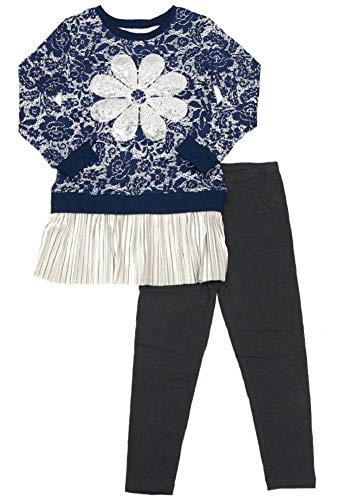Outfit Flapdoodles Girl (Flapdoodles Girls Navy Lace Print Sequin Flower Size 4-6X Top Pant (6X))