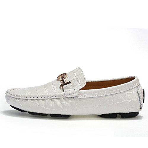 Sunrolan Ahern Mens Krokodil Läder Slip-on Platta Loafers Lite Prydnad Driv Mockasiner Båt Skor Nya Vita