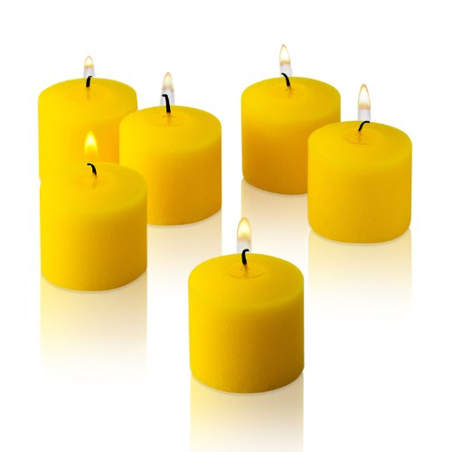 10 Hour Yellow Unscented Votive Candles Set of 72 Made in USA