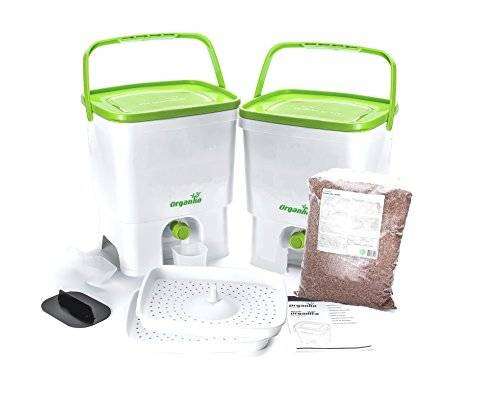 Skaza - mind your eco Bokashi Organico Dual System 2x3.5 gallon Buckets with active Bran and Accessories- Sustainable and Innovative Organic Waste Bin - Composter Kit (White/Lime) Bokashi Kit