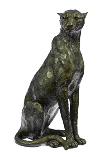 (Handmade European Bronze Sculpture Large Signed Barye Cheetah Cougar Wild Life Home Garden SALE Bronze Statue -JPYDW-029-Decor Collectible Gift)