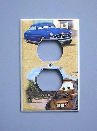 Disney Cars Lightening McQueen Mater OUTLET Switch Plate switchplate - Outlet Mcqueen