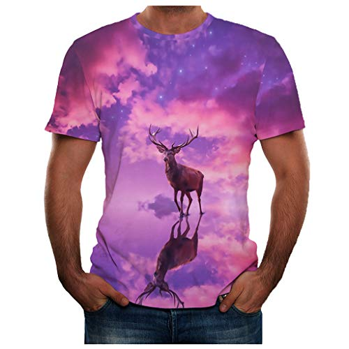 T-Shirts Tops 3D Pattern Cool Printed Short Sleeve Summer New Full 3D Printed T Shirt Plus Size Top Blouse Men (L,28- Purple) -