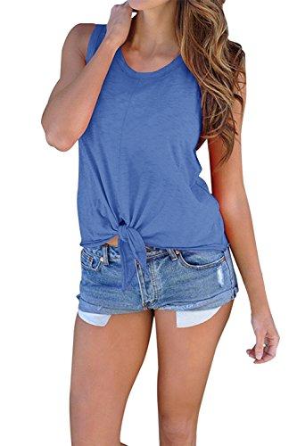 Dellytop Womens Knot Tie Front Sleeveless Round Neck Summer Cute Cami Tank Tops Blue Medium