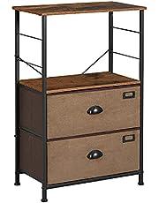 SONGMICS Nightstand, Industrial Bedside Table, Storage Shelves, Vertical Dresser Tower