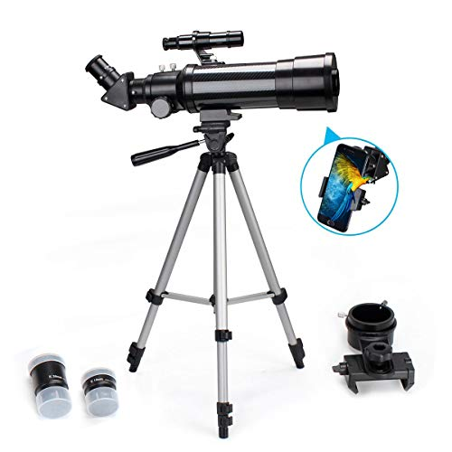 EastPole 70mm Telescope for Beginners and Kids, Refracter Travel Scope for Viewing Moon Stargazing and Outdoor Activities, FMC Lens, BAK4 Prism, Metal Tripod and 2019 New Telescope Smartphone Mount (Best Telescope For Stargazing)