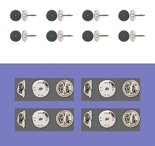 - 12 Brass Tac TIE Tacks Lapel Scatter Pin 10mm pad + 9mm Post + Backs No Nickel