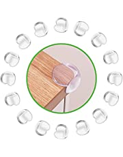 DLux Corner Guards - Set of 16 Clear Silicone Furniture Bumper Protectors with Replacement Tapes - Strong Acrylic Tape Backing, Easy to Install - Baby Proofing Edge Guards for Tables, Beds, Countertop