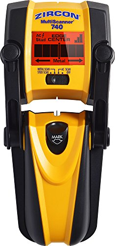 Zircon MultiScanner 740 Electronic Wall Scanner with Built-In Erasable Wall Marker/Center Finding and Edge Finding Stud Finder/Metal Detector/Live AC Wire Detection