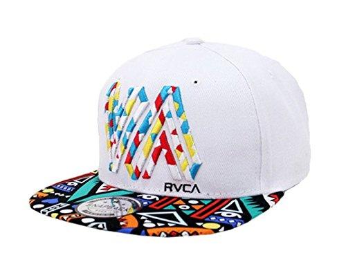 Doture Mens Fashion VA Muliticor Print 6 Panel Street Dancing Hat Baseball Cap White