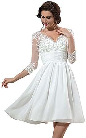 Hhdress Womens Half Sleeve Appliqued Tea Length Wedding