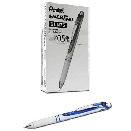 Pentel EnerGel Pearl Deluxe RTX Liquid Gel Pen, 0.5mm, Fine Line, Needle Tip, Blue Ink, Box of 12 (BLN75PW-C) (Refillable Pen Pentel Blue)