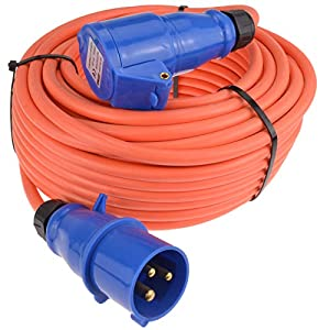 kenable Caravan/Motorhome 3Pin Electric Hookup 2.5mm Mains Extension Cable 25m