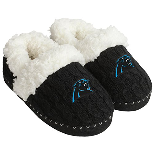 (FOCO NFL Carolina Panthers Team Color Fur Moccasin Slippers Shoe, Team Color, Large (9-10))