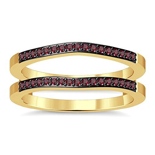 Silvergemking Wedding Enhancer Wrap Ring Guard Red Garnet Simulated Diamonds 14K Yellow Gold Plated ()