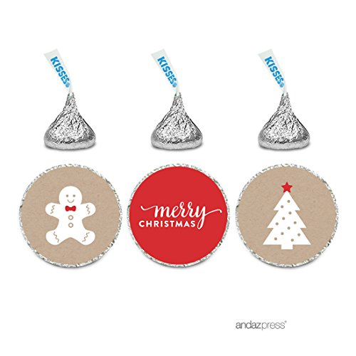 Andaz Press Christmas Collection Chocolate Drop Labels, Merry Christmas Gingerbread Man on Kraft, 216-Pack, Fits Hershey's Kisses Party Favors (Homemade Gift Baskets For Men)