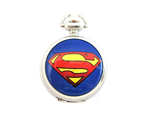 - Joyplancraft Super Hero Inspired Locket Necklace Vintage Silvery Cute Locket Watch with Hero Charm Necklace (Superman Necklace)