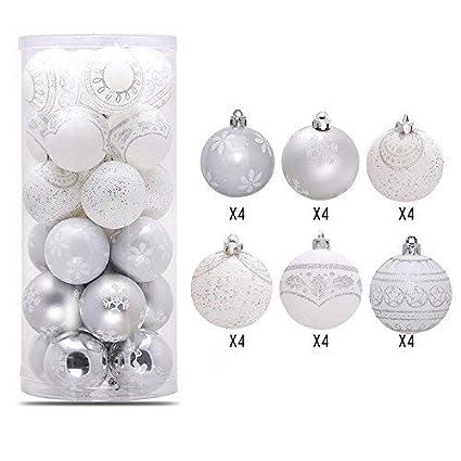 Lnkey 24 Bolas de Navidad blancas y silver, Inastillable ...
