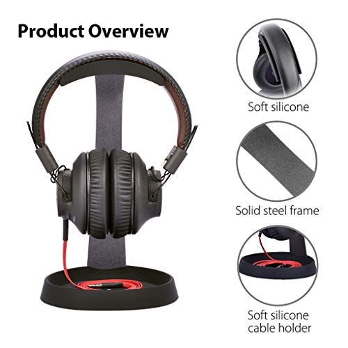 Avantree Aluminum Metal Headphone Stand Hanger with Cable Holder, Black Desk Earphone Mount Rack for Sennheiser, Sony, Bose, Beats Gaming Headset Display, Fancy Music Studio Accessories - HS102