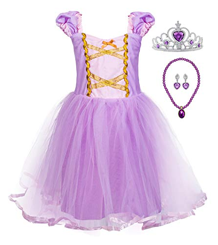 Princess Cinderella Rapunzel Little Mermaid Dress Costume for Baby Toddler Girl (2T, Purple) -