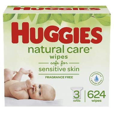 411teTWRhfL - HUGGIES Natural Care Unscented Baby Wipes, Sensitive, 3 Refill Packs (624 Total Wipes)