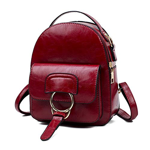 Vintage Backpack Female School Bags for Teenage Girls Leather Top-handle Bags,winered,18cm 8cm 22cm