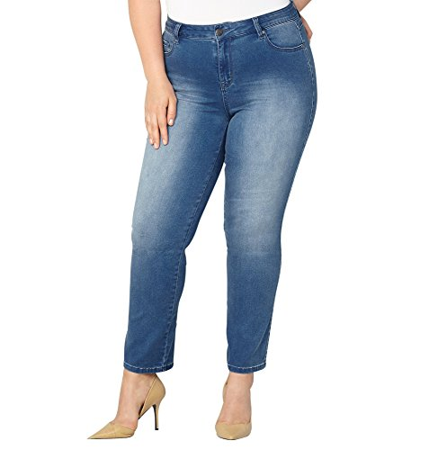 Avenue Denim (Avenue Women's Butter Denim Straight Leg Jean In Med Wash, 16 Medium Wash)