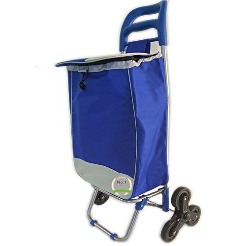 (#1 Super Duty Stair Climber Rolling Shopping Utility Cart Dolly Trolley Multipurpose Tri Wheel 40LB Capacity Knapsack Bag Laundry Grocery Drawstring Rubber Lightweight & Easy Hauler-Assorted Colors)