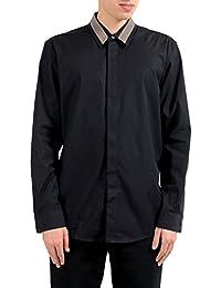 Men's Black Long Sleeve Casual Shirt US XL IT 54