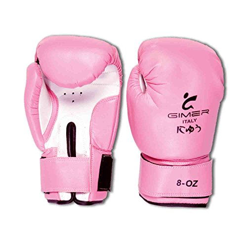 MAG GIMER 11/126 GUANTONI BOXE 8 ONCE PINK CON VELCRO PELLE SINTETICA Arti by Gimer