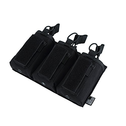 G36 Mag Pouch - OneTigris Elastic Kangaroo Rifle and Pistol Mag Pouch for AR AK G36 9mm .40 S&W .45 ACP Magazines (Black, Triple-Stack)