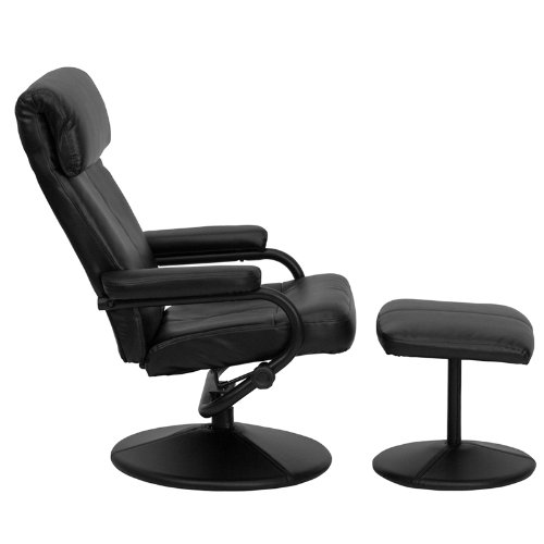 Flash Furniture Contemporary Black Leather Recliner and Ottoman with Leather Wrapped Base