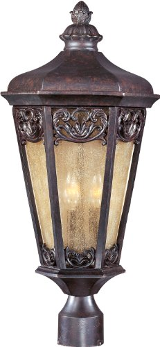 Colonial Umber Finish Chandeliers - Maxim 40170NSCU Lexington VX 3-Light Outdoor Pole/Post Lantern, Colonial Umber Finish, Night Shade Glass, CA Incandescent Incandescent Bulb , 40W Max., Dry Safety Rating, Standard Dimmable, Fabric Shade Material, Rated Lumens