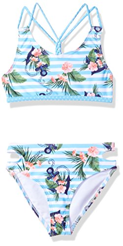 Jantzen Big Little Girls NEO Nautical Anchor Print Swim Bikini, Stripped, ()