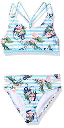 Jantzen Little Girls NEO Nautical Anchor Print Swim Bikini, Stripped, 6X