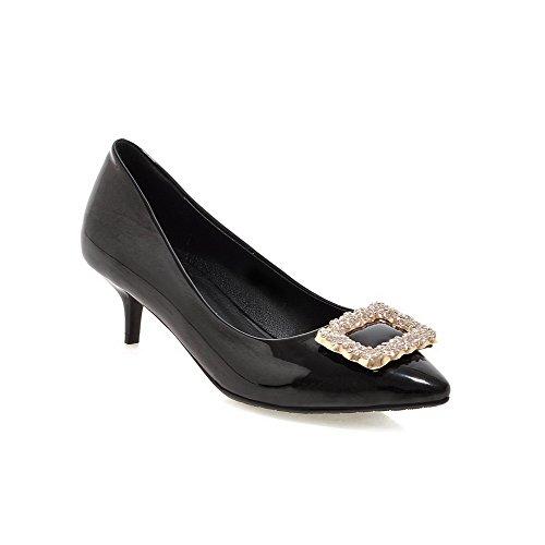 AgooLar Damen Spitz Zehe Mittler Absatz Lackleder Eingelegt Ziehen auf Pumps Schuhe, Silber, 43